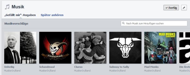 Beispiel Musikvorschläge (Facebook.com )