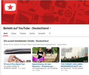 Screenshot: Beliebt auf Youtube