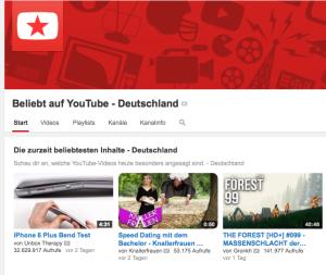 Screenshot: Beliebt auf Youtube